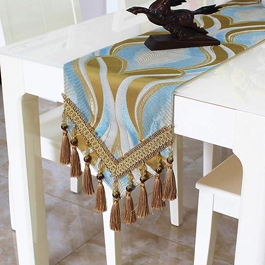 Camino De Mesa,Vintage Oro Y Azul Bandera De Mesa Minimalista ...