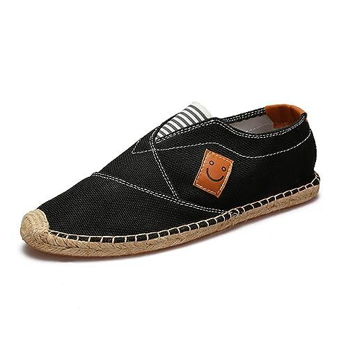 Estilo Chino Lona Zapatillas para Hombre Lino Espadrilles Negro Alpargatas: Amazon.es: Zapatos y complementos