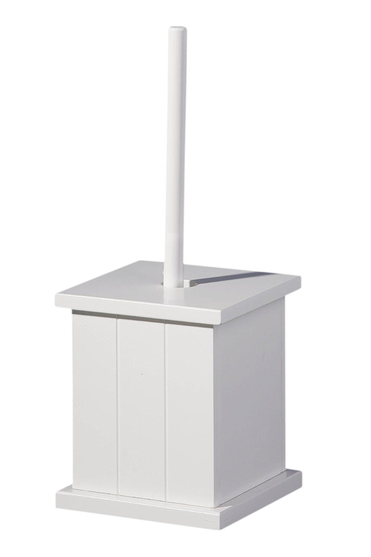 Premier Housewares - Escobillera cuadrada de madera para baño, color blanco 1600958