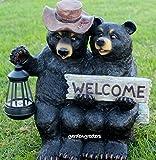 BEAR COUPLE STATUE WITH SOLAR LIGHT SOLAR BEAR LANTERN FIGURINE