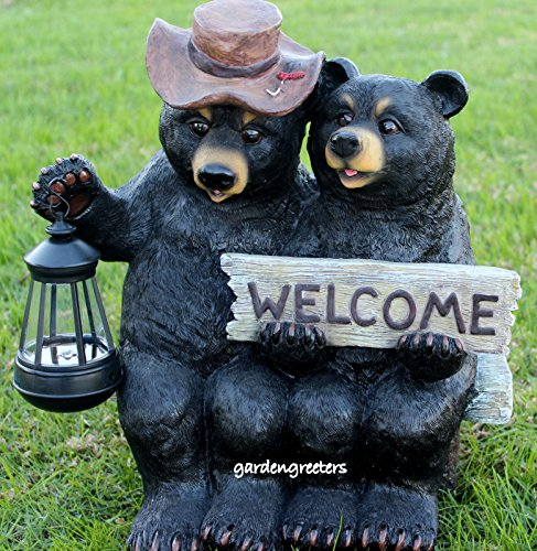 BEAR COUPLE STATUE WITH SOLAR LIGHT SOLAR BEAR LANTERN FIGURINE by Gardengreetersllc