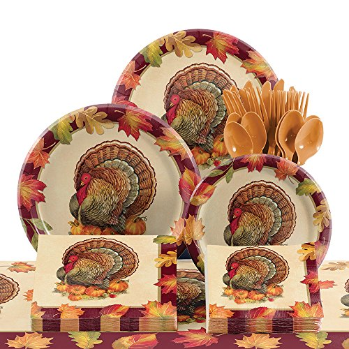 Creative Converting Tableware Kit for 8, Turkey Traditions - Turkey Pumpkin Kit