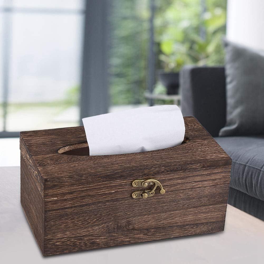 Chytaii Couverture Housse Etui de Bo/îte /à Mouchoirs Rectangulaire D/écoration de Table en Coton et Jute Noir