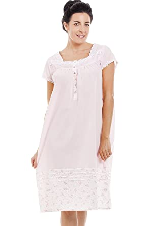 a816b113 Camille Womens Light Pink Short Sleeve Floral Nightdress: Camille:  Amazon.co.uk: Clothing