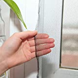 Flyzzz DIY Self-adhesive Window Screen Netting Mesh Curtain, 100X150cm (Approach 39.37x59.05 Inches), With Sticky Tape Screen Protector Hook and Loop Spiders, Fitted to Multiple Windows 1 Pack, Black)