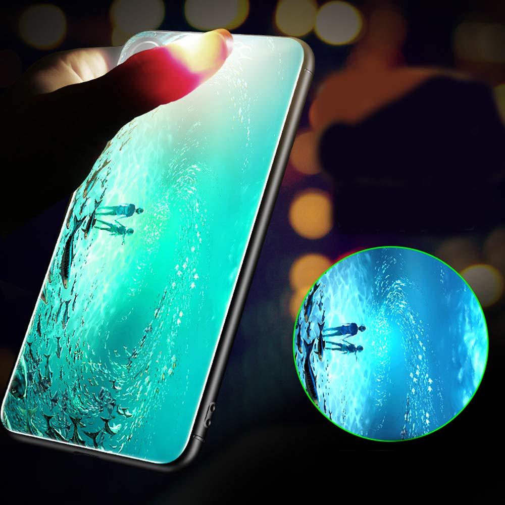 Custodia per Samsung Galaxy A50 Cover Samsung Galaxy A50 Cover Silicone Nottilucenti Luminoso Cristallo Case Vetro Temperato 3D Fluorescente Duro Protettiva Antiurto Backcover Farfalla Blu