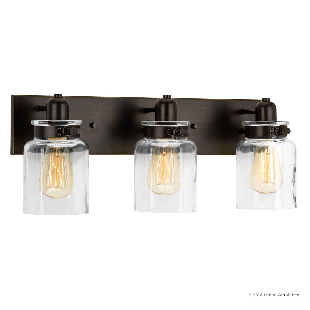 Luxury Modern Farmhouse Bathroom Vanity Light, Medium Size: 8.625''H x 21.625''W, with Industrial Style Elements, Olde Bronze Finish, UHP2143 from the Bridgeport Collection by Urban Ambiance