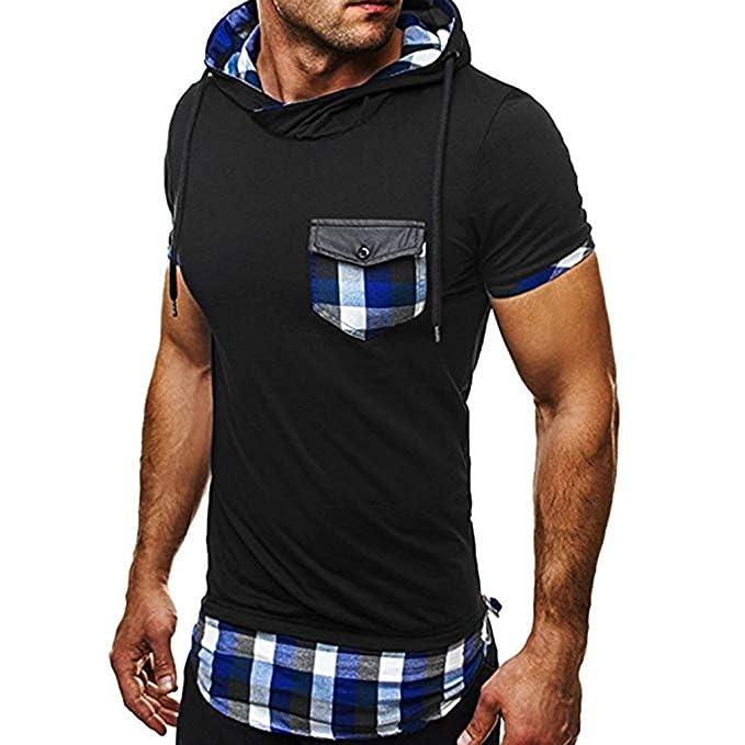 11b7091fe Sudadera con Capucha para Hombre de Manga Corta Camisa Sport de Bolsillo de  Moda de Verano Negro con Azul Rojo  Amazon.es  Ropa y accesorios