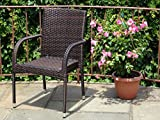 Patio Resin Outdoor Wicker Arm Chair Garden Sunroom Deck Balcony Furniture. Dark Brown Color