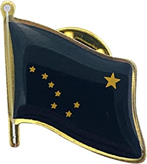 product image for Set of 24 Alaska Single Waving State Flag Lapel Pin - Made in The USA