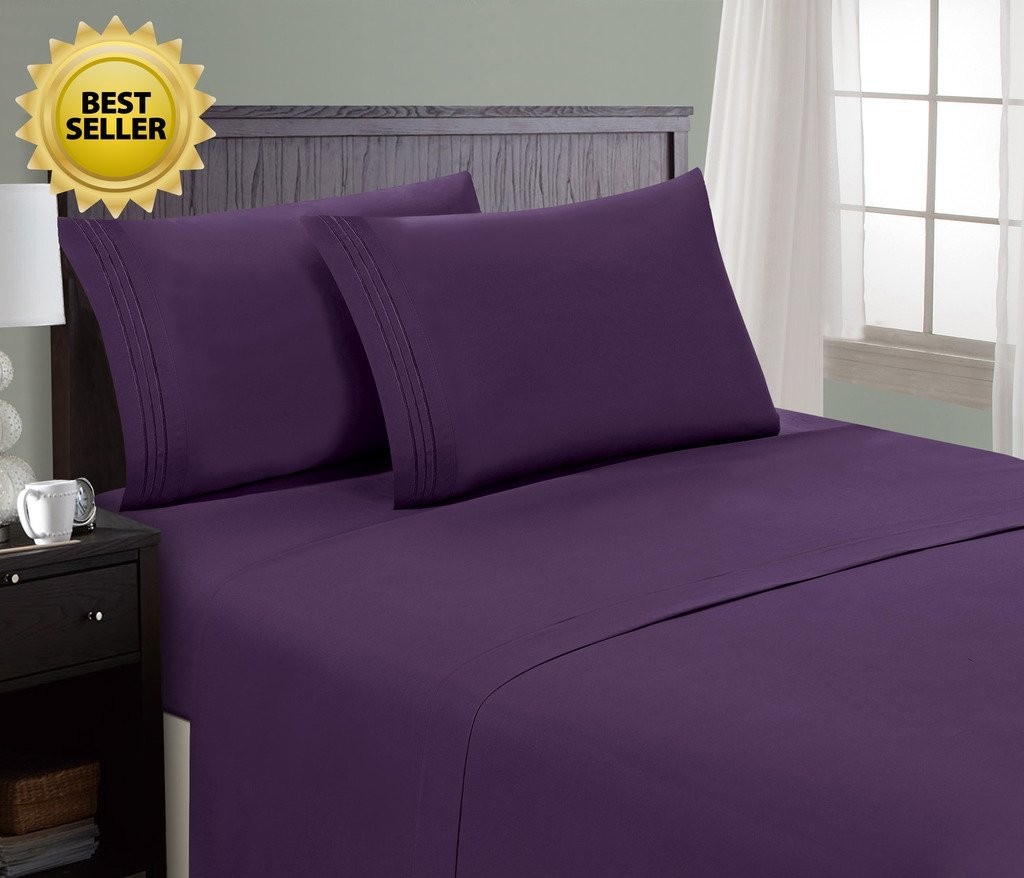 HC Collection Bed Sheet & Pillowcase Set Queen, Eggplant