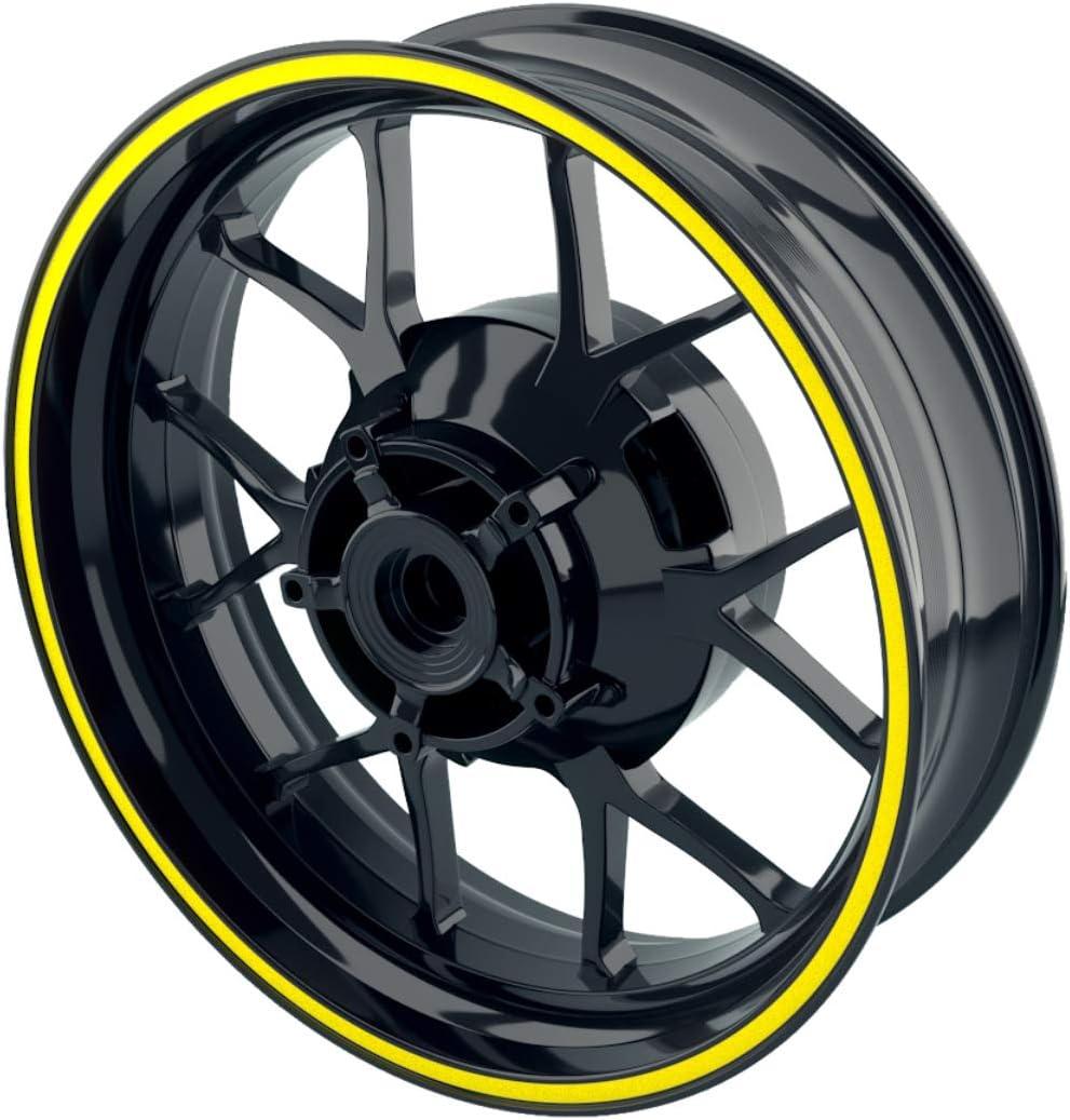 - Farbe w/ählbar OneWheel Felgenrandaufkleber 8mm Motorrad /& Auto Gelb - matt 15-19 Zoll 10 Felgenstreifen f/ür Vorder- /& Hinterreifen