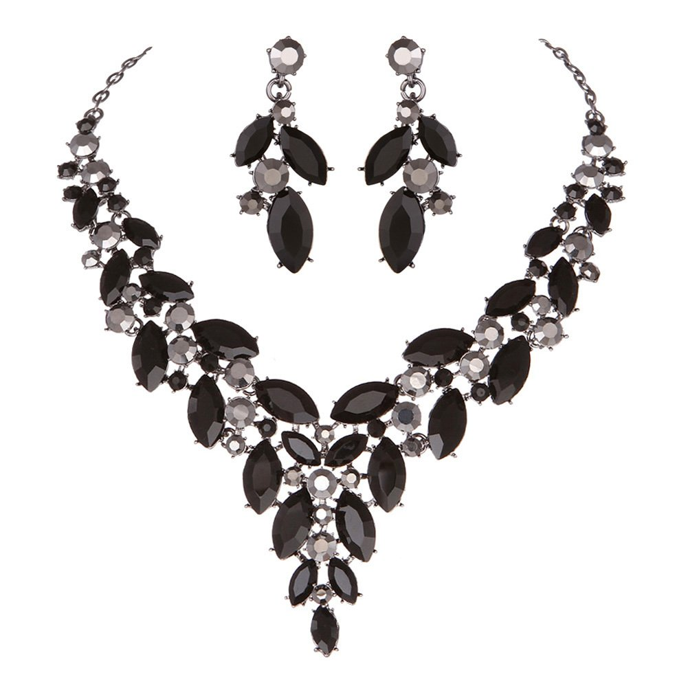 Modbridal Formal/Ball/Prom/Cocktail/Evening/Event Party Rhinestone Necklace and Earrings Jewelry Sets for Wedding Dress(Black)