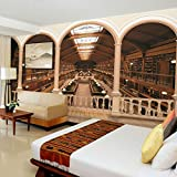 Ohcde Dheark Retro Art Deco Wallpaper Wall Paper Mural 3D Background Sticker Library Bookcase ,400cmX280cm(157.5 By 110.2 In )