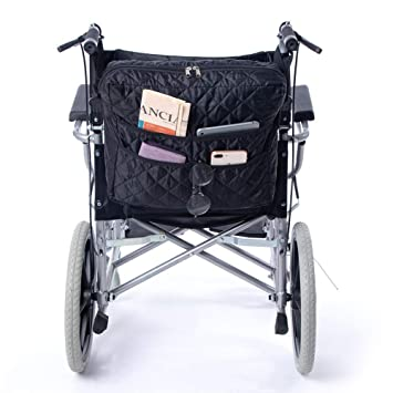 QEES GJB220 - Bolsa para silla de ruedas con 6 compartimentos, funda universal para scooter, funda de almacenamiento duradera para silla de ruedas, ...