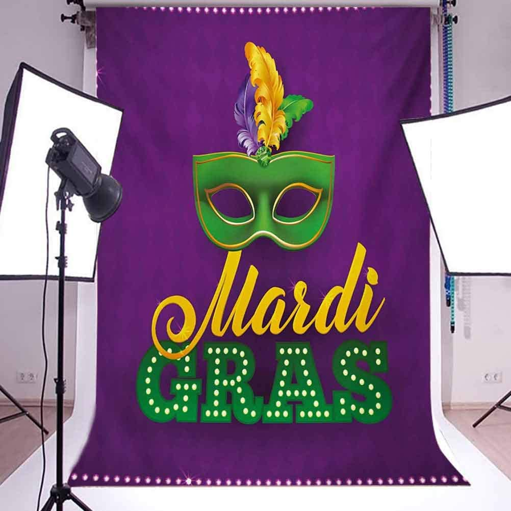 Mardi Gras 10x12 FT Photo Backdrops,Green Mask with Colorful Feathers on Purple Backdrop Styled Calligraphy Background for Baby Birthday Party Wedding Vinyl Studio Props Photography Purple Green Yell