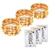 LE 3 Pack 6m Copper Wire Fairy String Lights Battery Operated, 60 LED Starry Light Strip, Waterproof, Warm White, Firefly Lights for Christmas, Wedding, Party, Valentine's Da