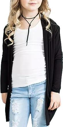 New Girls Kids Children Boyfriend Cardigan Stylish Plain Open Top Size 5-13 Year