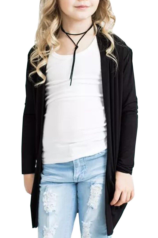 Geckatte Toddler Girls Boyfriend Cardigan Open Front Long Sleeve Knit Sweater with Pockets