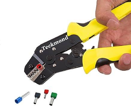Teckmond Crimpadora Terminales Crimping Tool con Ratchet-Action y 1350 pcs Terminales para aislado Blindaje Cable Guantes