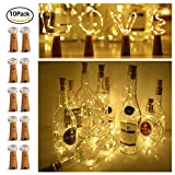 20 LED Bottle Cork String Lights Wine Bottle Fairy Mini Copper Wire, Battery Operated Starry lights for DIY Christmas Halloween Wedding Party Indoor Outdoor Decoration, 10 Pack (warm white)