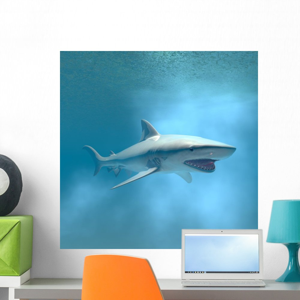 Wallmonkeys Tiger Shark Swimming Underwater Wall Mural Peel and Stick Graphic (24 in H x 24 in W) WM148398