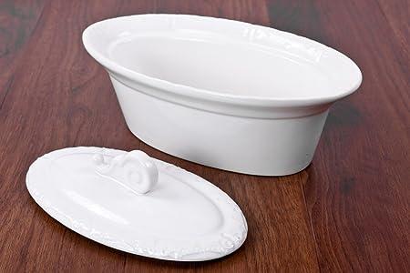 Tamled fuente con tapa porcelana blanca lavavajillas microondas y ...