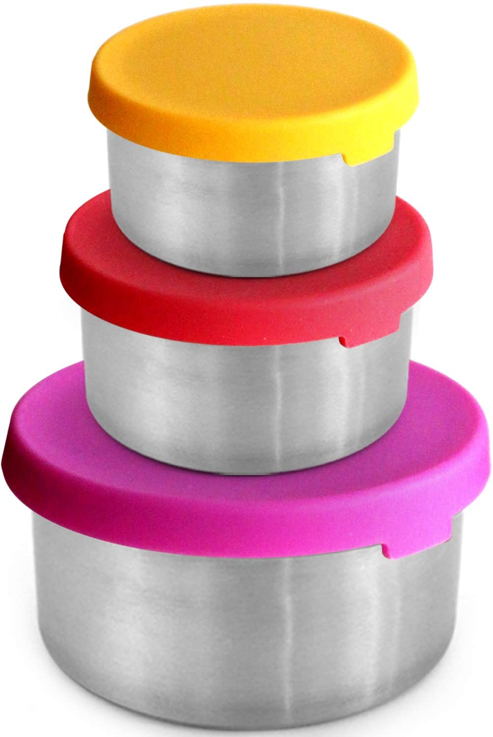Stainless Steel Snack Containers - Plastic Free | Leakproof Snack Pots | Silicone Lids | Reusable | Stackable - for Healthy Snacks, Lunch Dips, Camping Food [Set of 3: 4oz/ 7oz/ 14oz]