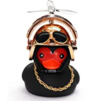 wonuu Rubber Duck Car Decorations Black Duck Car Dashboard Ornaments with Propeller Helmet for Adults