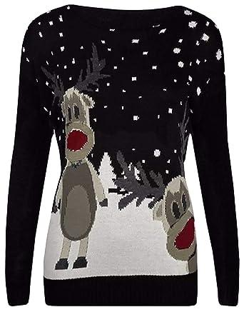 8008b0b53d8c Lamour Womens Christmas Bambi Baby Deer Print Knitted Jumper Top ...