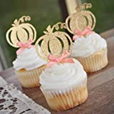 Pumpkin Cupcake Toppers. Pumpkin Birthday Decorations. Fall Boy Baby Shower. Pumpkin 1st Birthday Peach Bow Toppers. Set of 1