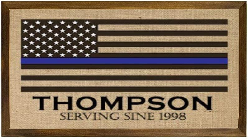 DONL9BAUER Thin Blue Line Family Name Burlap Print Wooden Framed Sign American Flag Police Officer Gift Leo Wall Hanging Modern Farmhouse Decor Wall Art for Living Room