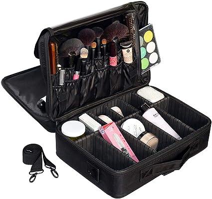 Bolsa de Maquillaje,Estuche Cosmético Bolsas de Maquillaje Para Mujer Bolsa de Almacenamiento de Cosméticos Bolsa de Almacenamiento Cosmética de Tela Oxford (Negro Grande de tres pisos): Amazon.es: Belleza