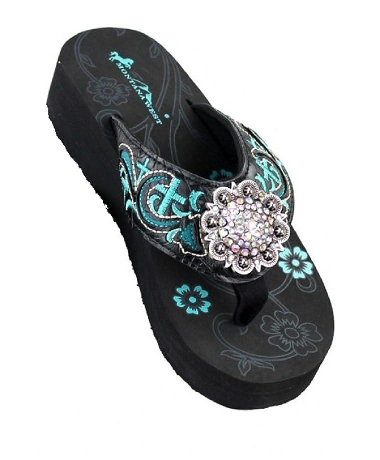 Rhinestone Concho Cross Flip Flops Sandals Black Turquoise