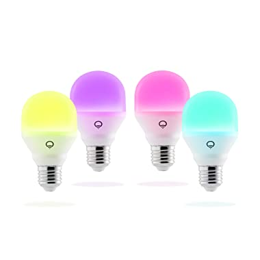LIFX HB4L3A19MC08E26 Mini Color (A19) Wi-Fi Smart LED Light Bulb Adjustable, Multicolor, Dimmable, No Hub Required, Pack of 4