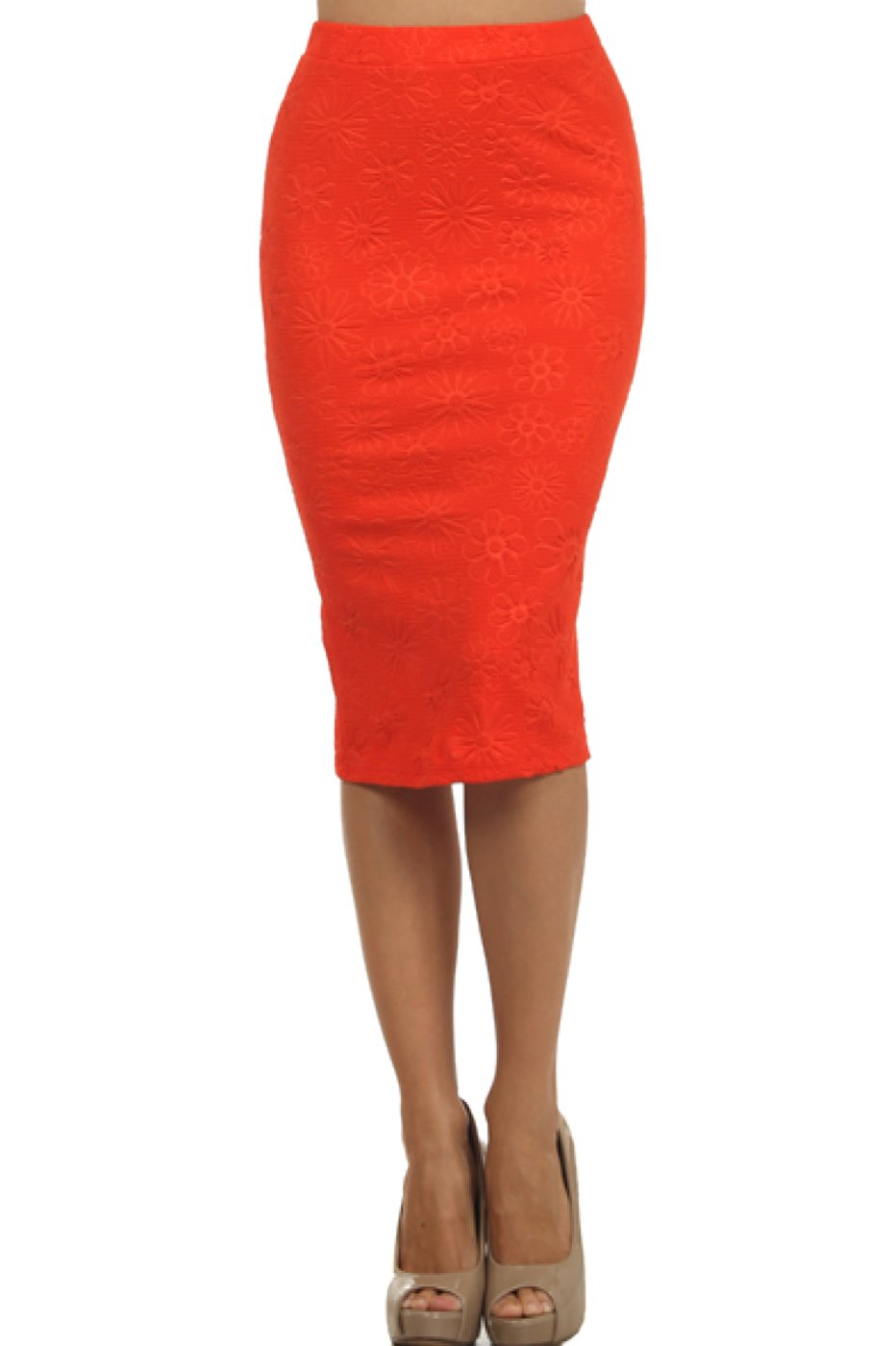 2LUV Women's Mix Print High Waisted Knee Length Pencil Skirt Red M (S170-7 RY)