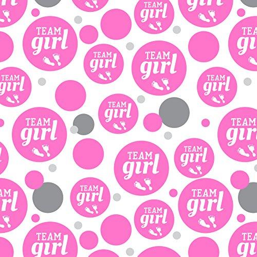 Team Girl Baby Pink Footprints Premium Gift Wrap Wrapping Paper Roll (Wrapping Paper Team)