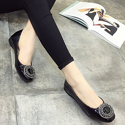 YFF button New diamond button YFF square footwear leather flat heel shoes women's shoes,Black, 41 casual all-match B072XJM8QC Parent be84b3
