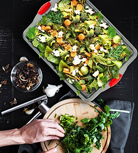 Boxiki Kitchen Nonstick Baking Sheet Pan | 100% Non-Toxic Rimmed Stainless Steel Baking Sheet, No Chemicals or Aluminum | Dent, Warp & Rust Resistant Heavy Gauge Steel Oven Baking Sheet (1) by Boxiki Kitchen (Image #5)