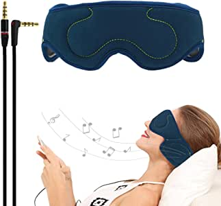 ACOTop Headphones Sleep Eye Mask with Ultra Thin Speakers, Perfect for Sleep Noise Canceling Headphones, Air Travel, Meditation and Relaxation (Navy Blue)