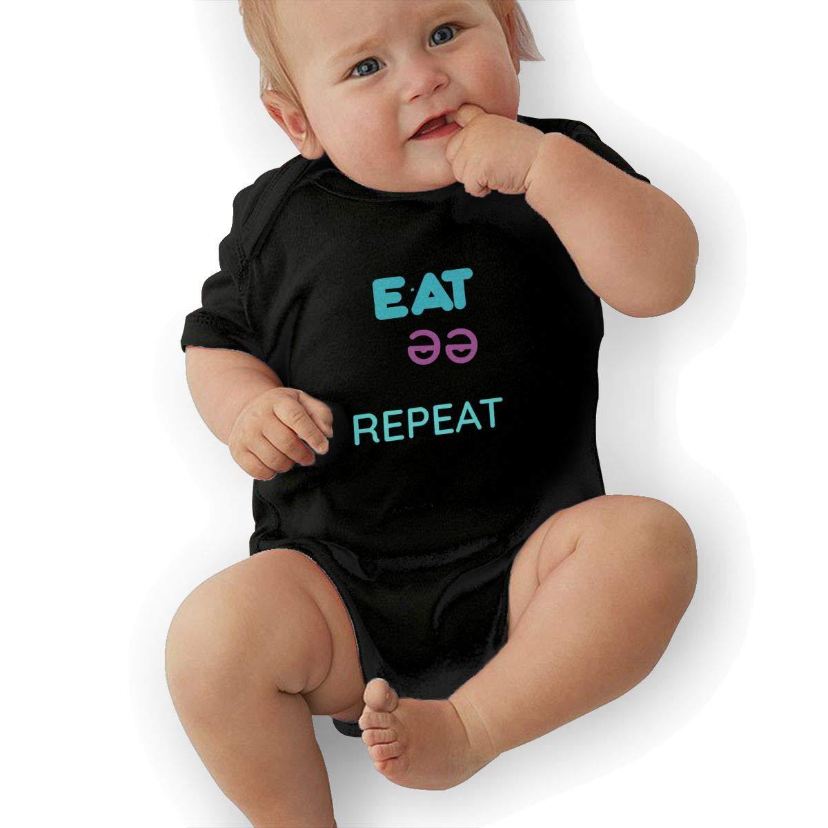 Eat Sleep Rave Repeat Newborn Infant Toddler Baby Girls Boys Bodysuit Short Sleeve 0-24 MonthsBlack
