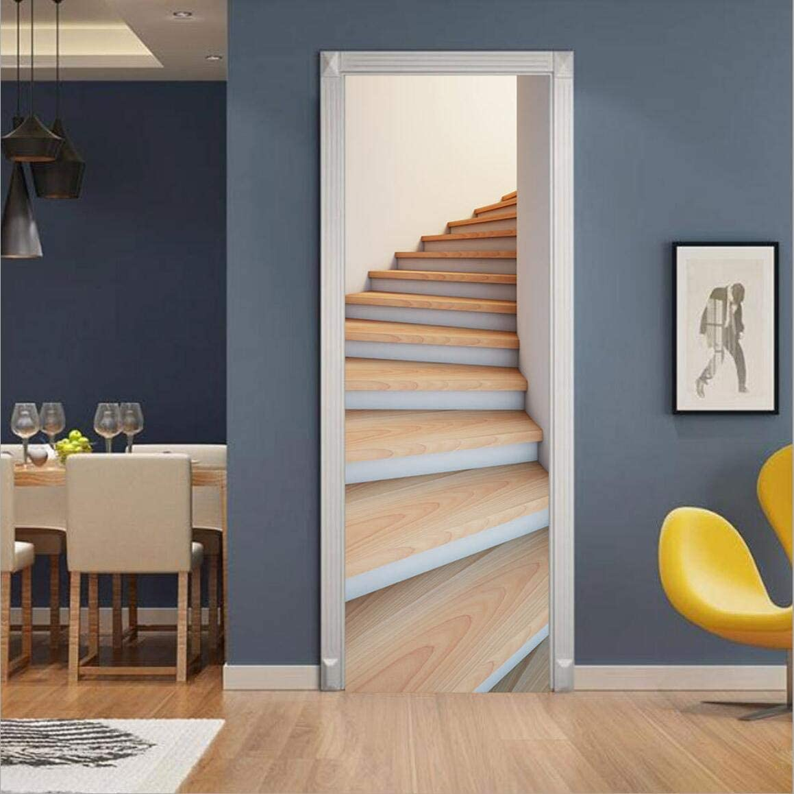 """MISSSIXTY 3D Staircase Door Wall Mural Wallpaper Stickers Vinyl Removable Decals for Home Decoration 30.3"""" x 78.7"""""""