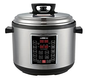 GoWISE USA 8 in 1 Programmable Electric XL Pressure Cooker w/ Ceramic Coated Cooking Pot, Measuring Cup, and Spoon (12QT)