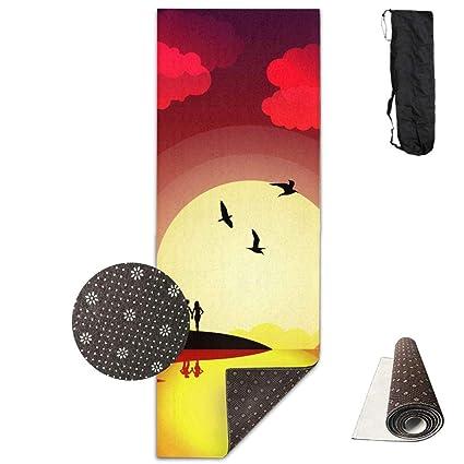 SARA NELL Yoga Mat Hawaii Scenery Hawaiian Pattern Design Printed Hot Yoga Mat With Carry Strap
