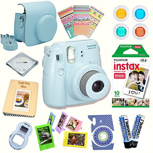 Fujifilm Instax Mini 8 Camera + Fuji INSTAX Instant Film (10 SHEETS) + 14 PC Instax Accessories kit Bundle, Includes; Instax Case + Album + Frames & Stickers + Lens Filters + MORE (Blue)