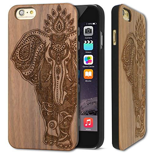 Wood Case for iPhone 6/6s Case, YUANQIAN [Real Wood] Natural Genuine Wooden Case for Apple iPhone 6 / iPhone 6s[4.7 inch]– [ROSEWOOD]Ultra Slim Hard Case (Walnut Elephant) (Rosewood Walnut)
