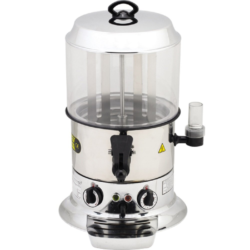 9 Liter Capacity PROFESSIONAL Commercial Hot Chocolate Maker Machine Electric Hot Chocolate Dispenser Shiny Silver Color 220V