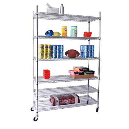 Merveilleux Trinity EcoStorage 6 Tier NSF Wire Shelving Rack With Wheels, 48 By 18 By