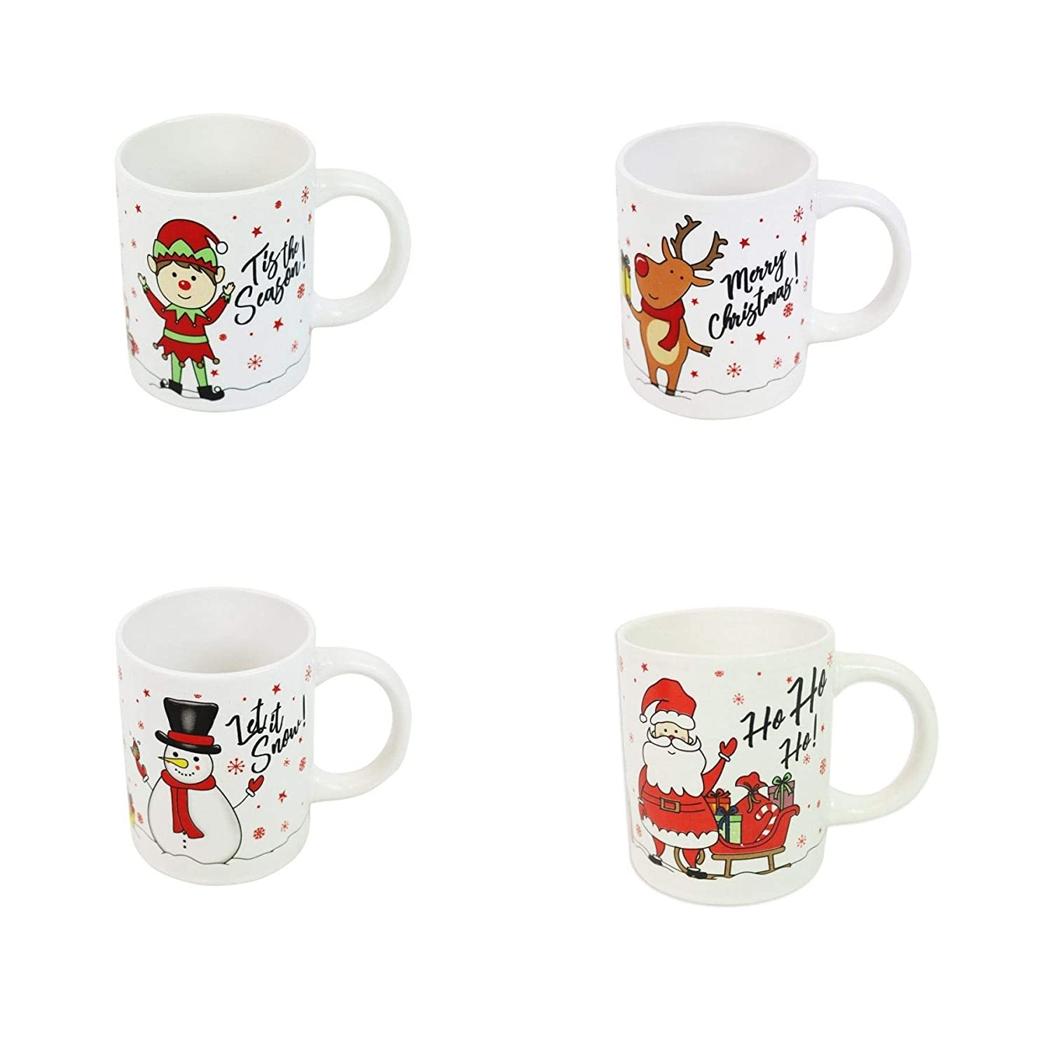 Christmas Mugs.Christmas Mugs Set Of 4 Festive Party Xmas Mugs Home Kitchen Tea Coffee Cups Christmas Tableware Xmas Decorations Mug Set Office Tea Cups Ceramic Mugs