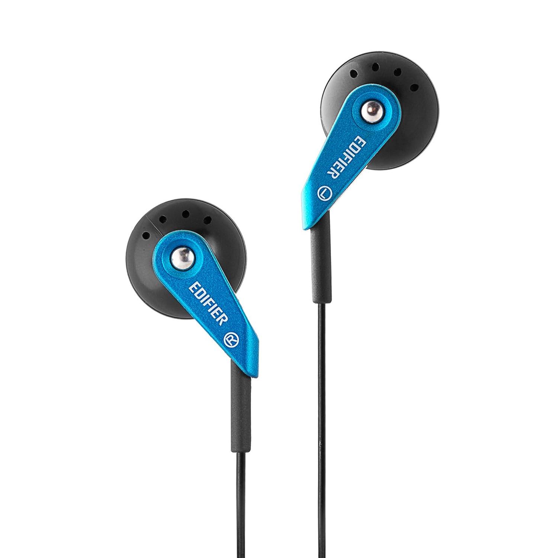 Edifier H185 Cascos Auriculares Hi-Fi de Estilo Cl/ásico de Bot/ón con Micr/ófono Azul